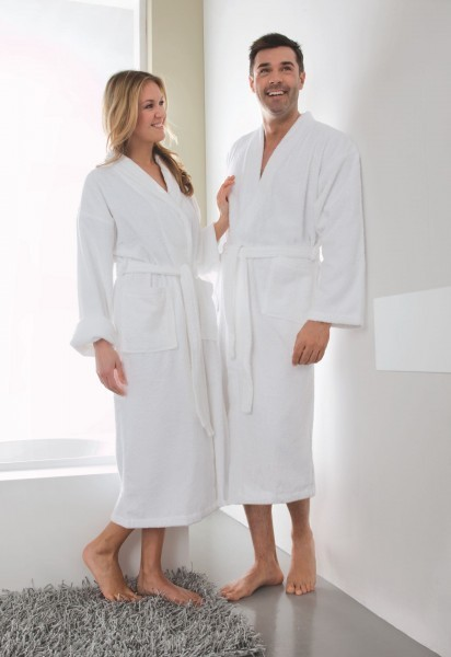 Bademantel - Baumwolle - weiß - Serie Capri