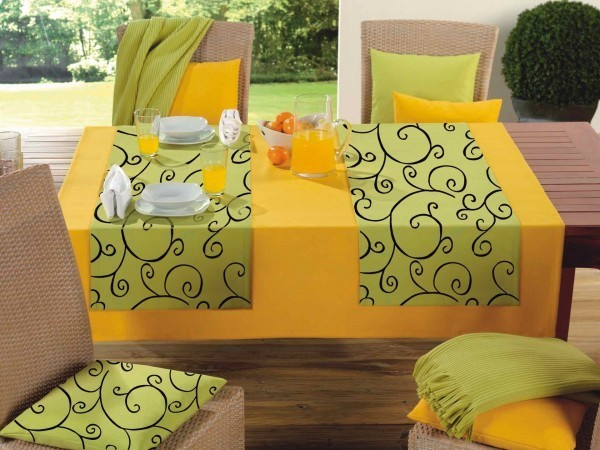 Tischdecke - Polyester - hellgrün / Milano-gelb - Serie Verona