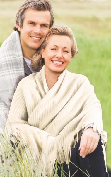 Fleece-Decke - Polyester - creme - Serie Stola